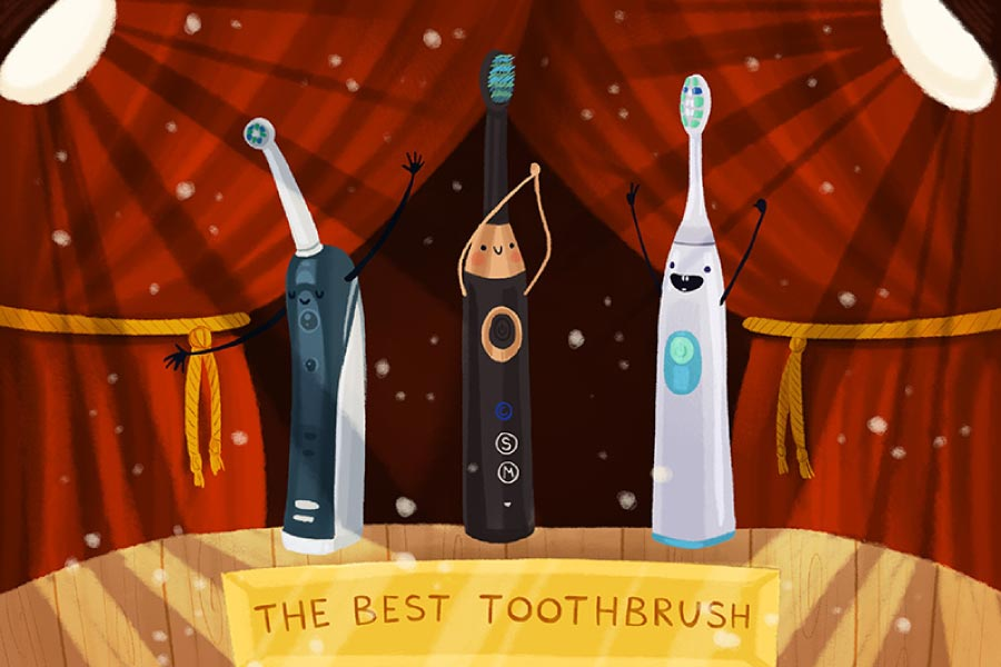 """3 cartoon electric toothbrushes on a stage competing for """"best toothbrush""""."""