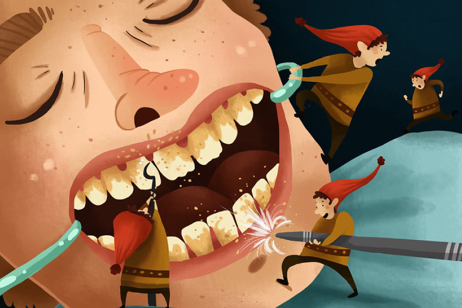 Cartoon showing little elves helping with a deep teeth cleaning.